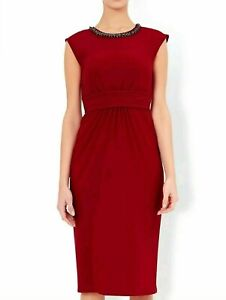 MONSOON RED SLINKY EMBELLISHED NECK PARTY SPECIAL OCCASION DRESS SIZE 8-22 NEW