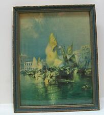 The Grand Canal of Venice 1925 Brown and Bigalow Picture in Wood Frame Vintage