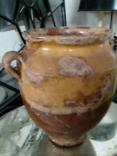 Antique French Confit Pot Glazed 19th Century Yellow Pottery