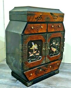 BEAUTIFUL JAPANESE CABINET LACQUERED INLAID TANSU CHEST JEWELLERY BOX ORIENTAL
