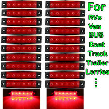 20x 6 LED Clearence Truck RVs Trailer Side Marker Indicators Brake Light 12V Red