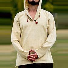 Mens Linen Shirts Pullover Hoodie Casual Lightweight Long Sleeve T Shirts TopLDU
