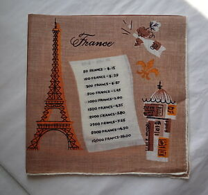 Vintage Tammis Keefe Handkerchief European Currencies Italy Spain France England
