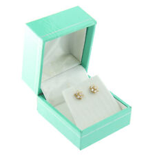 Teal Blue Faux Leather Earring Box Display Jewelry Gift Box Silver Trim