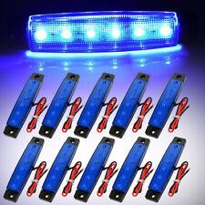 10PCS 6 LED 3.8'' Side Marker Light Blue Trailer Truck Bus Boat Lorry Waterproof
