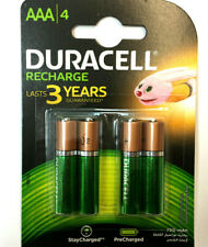 Duracell AAA 750 mAh Rechargeable Batteries For Cordles Solar Toys Torch X 4