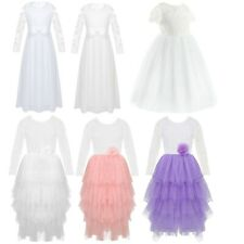 Flower Girls Dress Floral Lace Princess Pageant Wedding Birthday Party Dress