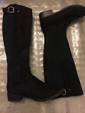 Essex Glam UK 4  Black  Knee High Boots  Low Heel, Stretch Calf, Leg Buckle Zip