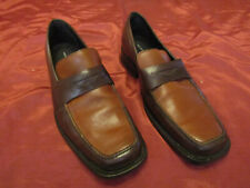 MEN'S, KENNETH COLE, 2-TONE BROWN SLIP-ON PENNY LOAFERS, ALL LEATHER, Sz 9 ITALY