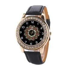Women`s Gold Quartz Crystal Black Patterned Faced with Black Band Wrist Watch.