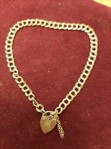 Lovely Vintage Solid 9ct Gold Heart Padlock Curb Link Bracelet ASJ Safety Chain