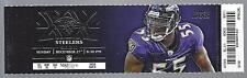 2015 NFL STEELERS @ BALTIMORE RAVENS FULL UNUSED FOOTBALL TICKET - MINT