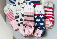 Lady Women Girls Warm Thermal Winter Kitty Fleece Navy low cut Cute Short Socks
