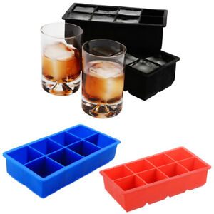 8 Ice Cubes Maker Silicone Square Tray Mold Party Bar Whiskey Cube Cocktails