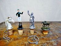 Lot of 4 Vintage Figurine Cork Bottle Stoppers