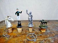 Lot of 4 Vintage Figurine Cork Bottle Stoppers