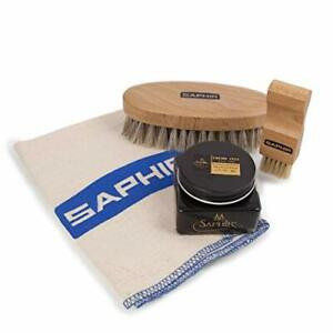 Saphir Plain Cloth + Oval Brush + Neutral MDO Wax + Flat Light Wood Applicator B