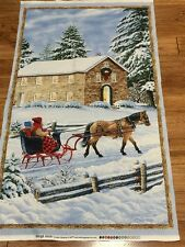 Christmas Country Winter Sleigh Ride quilters cotton Fabric Panel  23 x 44