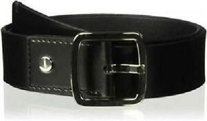 CALVIN KLEIN Women's BLACK BELT 42mm Flat Strap Logo 100% LEATHER SZ XL NWT