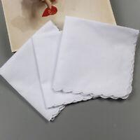 6x Men Women 100% Cotton White Handkerchiefs Comfy Hanky Hankies Kerchief