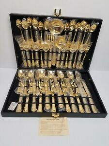 NEW WM. Rogers & Son Enchanted Rose Gold Plated Flatware 51pc Set service for 12