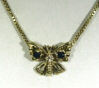"Sapphire & Diamond Butterfly 9ct Yellow Gold 15"" Necklet Necklace Pendant"