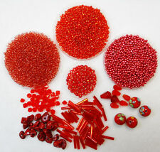 Red Bead Collection Rocaille Seed Beads, Bugle Beads, Novelty Beads 9200+ pcs