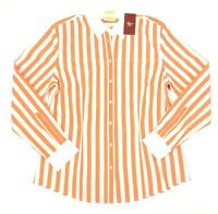 R M Williams Womens Semi Fitted Long Sleeve Orange & White Striped Shirt Size 12