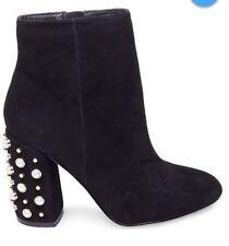 Steve Madden Black Ankle Boots Pearl & Stud Embellished Heel Sz 9.5 NEW