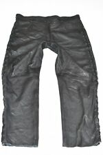 """Black Real Leather Lace Up Biker Motorcycle Men's Trousers Pants Size W39"""" L31"""""""