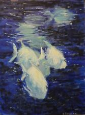 oil painting Spade fish/water original P,Hamilton animal impress 18x24 abstract