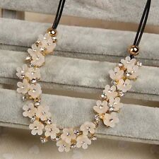 Sweet Women Crystal Flower Choker Chunky Statement Bib Chain Necklace Charm Gift