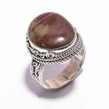 Natural Jasper Handcrafted Jewelry Gift CR52 925 Sterling Silver Ring SIZE US 8