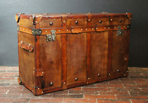 English Handmade Tan Leather Vintage Inspired Coffee Table Trunk CN36