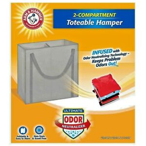 Arm & Hammer Gray 2-Compartment Laundry Hamper Odor Neutralizer Foldable New