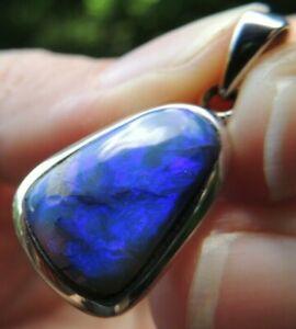 Australian Opal Pendant Solid Gemstone Sterling Silver Jewelry Lightning Ridge