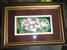 "Beautiful Framed Vintage Enamel Guilloche Silver Floral Plaque 16"" X 11"""