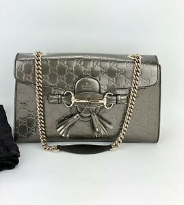Gucci Emily Shine GG Guccissima medium Shoulder Bag Metallic Patent Leather B185