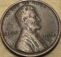 1914 -S. Very Fine Lincoln Cent Wheat Penny. Copper Lincoln Small Cent.