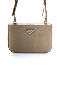 Prada Womens Shoulder Small Handbag Beige Silver Tone