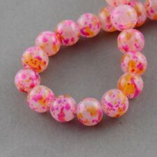 6mm Spray Painted Glass Beads - Pink Multi