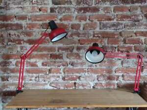Pair of Vintage Finland Red Architect Lamp LIVAL P12- 1980s -Industrial Lighting