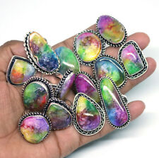 Exclusive !! 50 PCs Multi Solar Quartz .925 Silver Plated Gemstone Rings Lot.