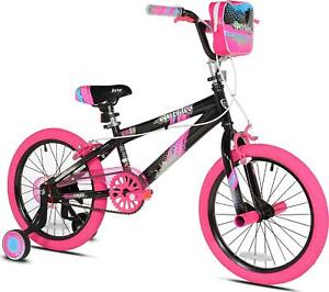 "18"" Girl?s Bike Steel Frame Pink Bicycle with Adjustable Training Wheels and"