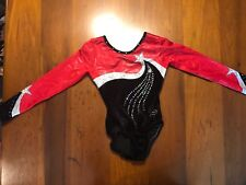 Long Sleeve Women'sDreamlight Leotard (Axs) Black/Red with Swarovski Crystals