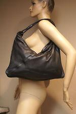 Pre-Owned BOTTEGA VENETA Intrecciato Blk Leather Shoulder Handbag 16 x 3.5 x 14