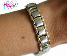 MENS SUPER STRONG NEW MAGNETIC GOLD & SILVER ALLOY HEALING BRACELET PAIN RELIEF