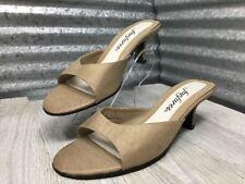 Fanfares Fabric Women Kitten Heel Slides Sandal Beige Pam Gold Mule Shoe Size 7