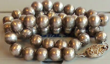 SILVER SIGNED ANTIQUE 30'S STERLING SILVER BEAD NECKLACE ESTATE JEWELRY 46GR