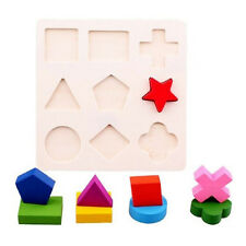 Baby Kid Child Preschool 9Shapes Wooden Building Blocks Educational Toy 2016